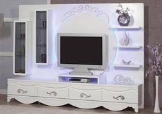Led Aydınlatmalı Beyaz Avangard TV Ünitesi   Avangard TV Ünitesi Modelleri