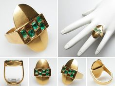 RETRO VINTAGE EMERALD COCKTAIL RING SOLID 18K GOLD