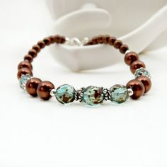 Aqua and Brown Bracelet - Aquamarine, Brown Pearl, Sterling Silver - Stacking or Layering Bracelet on Etsy, $25.00