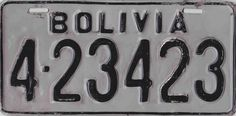 BOLIVIA 1972 Licence Plates, Family Chiropractic, Bolivia, United States, Frames, Vintage Plates, South America, Tools, Miniatures