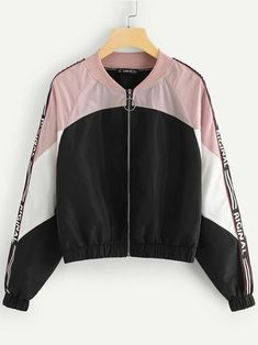 Shop Plus Zip Up Color-block Figure Bomber Jacket online. SHEIN offers Plus Zip Up Color-block Figure Bomber Jacket & more to fit your fashionable needs. Sweat Shirt, Plus Size Coats, Jacket Pattern, Young Models, Types Of Sleeves, Nike Jacket, Fashion News, Plus Size Fashion, Zip Ups