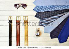 #Fashion #Accessories #Man #tie #watch #belt #clock #sunglasses #colors