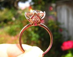 Old European Cut OEC Morganite Engagement Ring in by JuliaBJewelry WOW, the Morganite with Rose Gold setting is incredibly romantic looking. This ring is stunning! Antique Engagement Rings, Rose Gold Engagement Ring, Wedding Ring Bands, Morganite Engagement, Morganite Jewelry, Morganite Ring, Bling Jewelry, Jewelery, Diamond Are A Girls Best Friend
