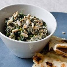 Spinach Spicy Dip with Pine Nuts