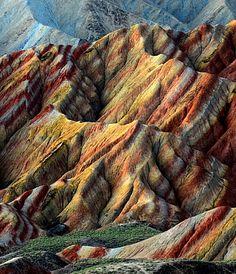 Zhangye Danxia Landform Geological Park, Gansu Province, China - Source: condenasttraveler, via breezingby