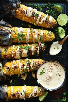 Grilled corn with a savory, spicy Sriracha aioli / Recipe