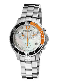 Stuhrling Original 162CR.112W17, Stuhrling Original presents the Regatta Pearl, your favorite Regatta, this time featuring a Chronograph. Constructed from the finest solid stainless steel, the timepiece has a rotating bezel, with a luminous dot, Swarovski crystals as hour markers, and a