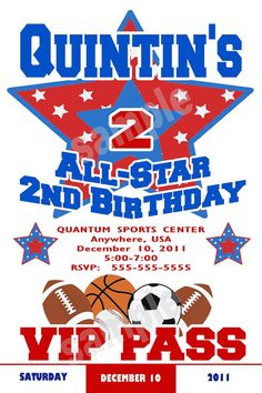 All Star Sports Birthday Party Invitation by NvitationsByRachelle, $7.00