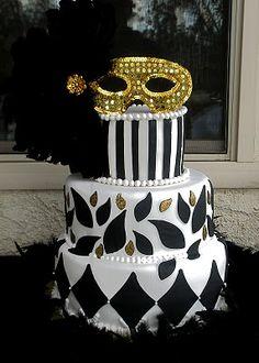 Black, white, & gold masquerade birthday cake. From simplysweettreats.blogspot.com