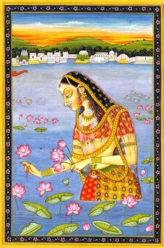 THE DIVINE APPEARANCE OF SRIMATI RADHARANI The Puranas relate a story concerning the divine appearance of Shrimati Radharani as follows. One day, Vrishabhanu Maharaja went to the bank of Yamuna at around noon to take a midday bath. At that moment he saw a golden lotus flower floating on the water and shining brightly like a thousand suns. Vrishabhanu immediately waded into the river and when he came near to the golden lotus flower, he beheld the most beautiful and radiant form of baby girl…
