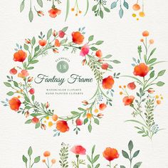 Fantasy frame watercolor clipart's hand painted di DottyCreative
