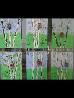 Birch trees with birdhouse Spring Art Projects, Spring Crafts, Art Education Lessons, Art Lessons, Cherry Blossom Painting, Classroom Art Projects, 4th Grade Art, Art Programs, Autumn Art