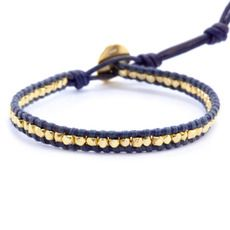 Gold Tone Single Wrap Bracelet on Pacific Blue Leather