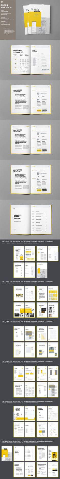 Brand Manual Brochure 40 Pages Template INDD Brochure Templates - business manual templates
