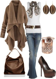 brown- cute!! Minus the shoes; I prefer flats or sophisticated wedges.