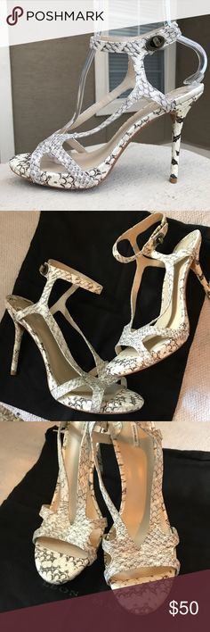 """Leon Max Ivory Snakeskin Heels Gorgeous and sexy heels! Such a unique style, 5"""" heel comes with dust bag Leon Max Shoes Heels"""