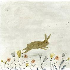 BLOGUPDATE / Voor Pasen 'trek' ik op HappyMakersBlog 8 stuks geïllustreerde konijnen en hazen uit de hoge hoed ~ Illustration Katie Wilson…
