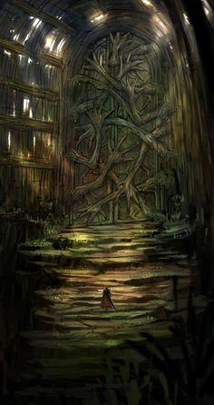 by Nai ga on ArtStation. Dark Fantasy Art, Fantasy Artwork, Fantasy Art Landscapes, Fantasy Concept Art, Fantasy City, Fantasy Places, High Fantasy, Fantasy Landscape, Fantasy World