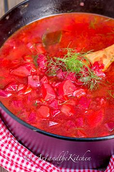 Country Style Borscht | Art and the Kitchen, make delicious borscht that tastes just like Grandma's recipe. Start with garden fresh simple ingredients of red beets, cabbage, carrots and potatoes