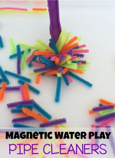 Magnetic water sensory play with pipe cleaners for preschoolers from Modern Preschool