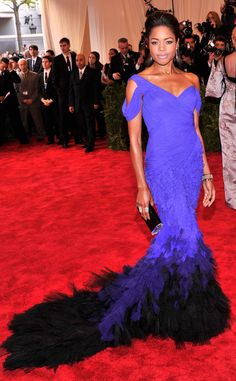 Naomie Harris in a Donna Karan Atelier dress with Christian Louboutin shoes, an Edie Parker black clutch and Kwiat jewelry #MetGala2013