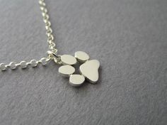 Paw Print Necklace Pendant - Sterling Silver - Cats and Dogs Paws - Hand Cut