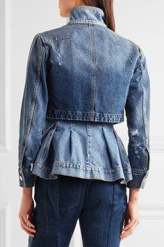 Alexander McQueen | Layered denim peplum jacket | NET-A-PORTER.COM