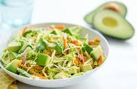 Easy Avocado Cabbage Carrot Cole Slaw.  Love this! I use raw apple cider vinegar and a dash of honey instead of sugar. To serve it another way; add coleslaw to grilled wild salmon tacos. I recommend using non-gmo corn taco shells. dhj