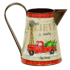"Metal Decorative Pitcher ""Believe a Country Christmas'' with Red Truck Design Christmas Red Truck, Christmas Tree Farm, Farmhouse Christmas Decor, Country Christmas, Christmas Lights, Christmas Ideas, Xmas, Farmhouse Decor, Christmas Holiday"