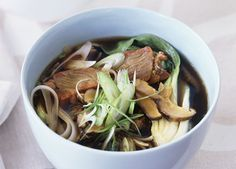 Australian Gourmet Traveller fast recipe for barbecued pork and rice stick noodle soup