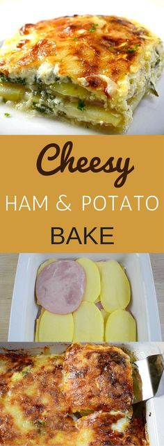 Cheesy Ham and Potato Bake is a delicious main course dish that fills the house with an amazing aroma. It features a golden crust on top as the cheese browns in the oven. Underneath there are layers of ham, potatoes and swiss cheese with eggs, milk and parsley for gastronomic perfection.
