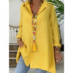 New Women Boho Dot Long Blouses Summer Long Sleeve Loose Blouses Lady Fashion Casual Blouse Shirts Top Blusas Mujer de Moda 2019 Long Sleeve Tunic, Long Sleeve Tops, Long Sleeve Shirts, Long Shirts, Women's Shirts, Maxi Dress With Sleeves, Cap Sleeves, Plus Size Shirts, Plus Size Blouses