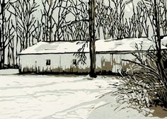 Winter Barn, original winter scene linocut