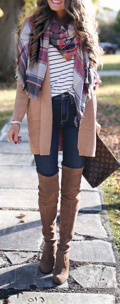 #Winter #Outfits / Tartan Scarf + OTK Boots