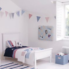 Kids Bedroom Bunting classic single bed | the white company | toby's bedroom