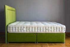 Nothing better than a comfy mattress! here on a fresh lime bed base from Cotton&Co