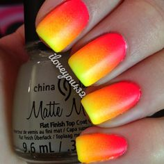Neon matte ombre nails from IG user iloveyou432