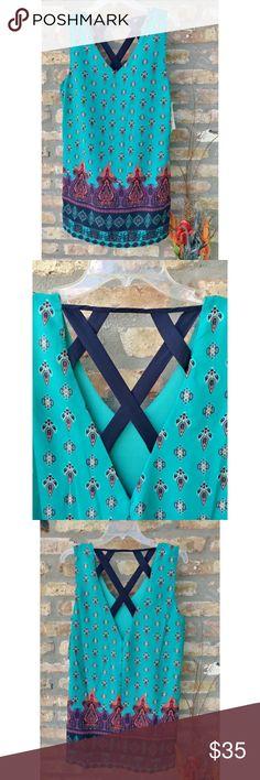 🆕Mixed Print Back Strap Dress Simple sheath dress design with fun print and back strap details Giani Bernini Dresses Midi
