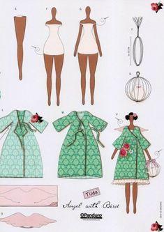"Tilda Doll ""Angel with Bird Cage""  Платье для куклы тильды Angel with Bird: выкройка для кройки и шитья"
