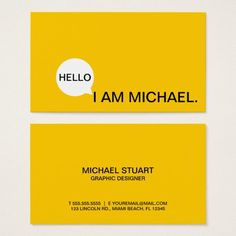 Hello Speech Bubble | Casual Modern Black & Yellow Business Cards Layout, Simple Business Cards, Minimalist Business Cards, Custom Business Cards, Business Card Logo, Calling Card Design, Architecture Business Cards, Visiting Card Design, Bussiness Card