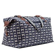 Holdall Cream Bows On Navy | Huge overnight bag