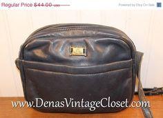 50% Winter Clearance Sale Vintage Etienne Aigner Navy Blue Leather Shoulder Bag Purse