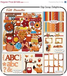 SALE 33% Off Fall Scrapbook Kit Bundle  Autumn by DigiScrapDelights