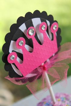 PRINCESS Hot Pink and Zebra Print set of 12 Cupcake Toppers , $12.00 plus $5.15 in shipping. If you would like this made please contact me at sweetesweetshopt@gmail.com ~ Thanks