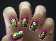 Hot Pink Nails With Swarovski Gems