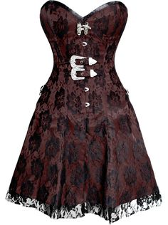 The Violet Vixen - Black Rose on Brown Corset Dress, $146.00 (http://thevioletvixen.com/clothing/black-rose-on-brown-corset-dress/)