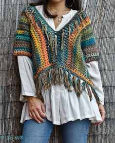 boho crochet top with fringes Poncho Au Crochet, Crochet Jacket, Knit Crochet, Poncho Shawl, Crochet Tops, Pullover Design, Crochet Woman, Crochet Fashion, Crochet Clothes