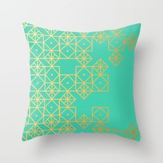 Geometric Turquoise Throw Pillow by Cat Coquillette. Worldwide shipping available at Society6.com. Just one of millions of high quality products available.