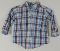 Boys The Childrens Place Size 18 Months Blue   Red Plaid Long Sleeve Button   fashion 99f461de6