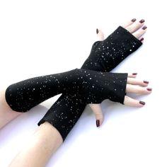 Black , Night Sky Fingerless Gloves -  Arm Warmers , Gloves , Hand Warmers , Cuffs , Victoriian , Goth , Cotton